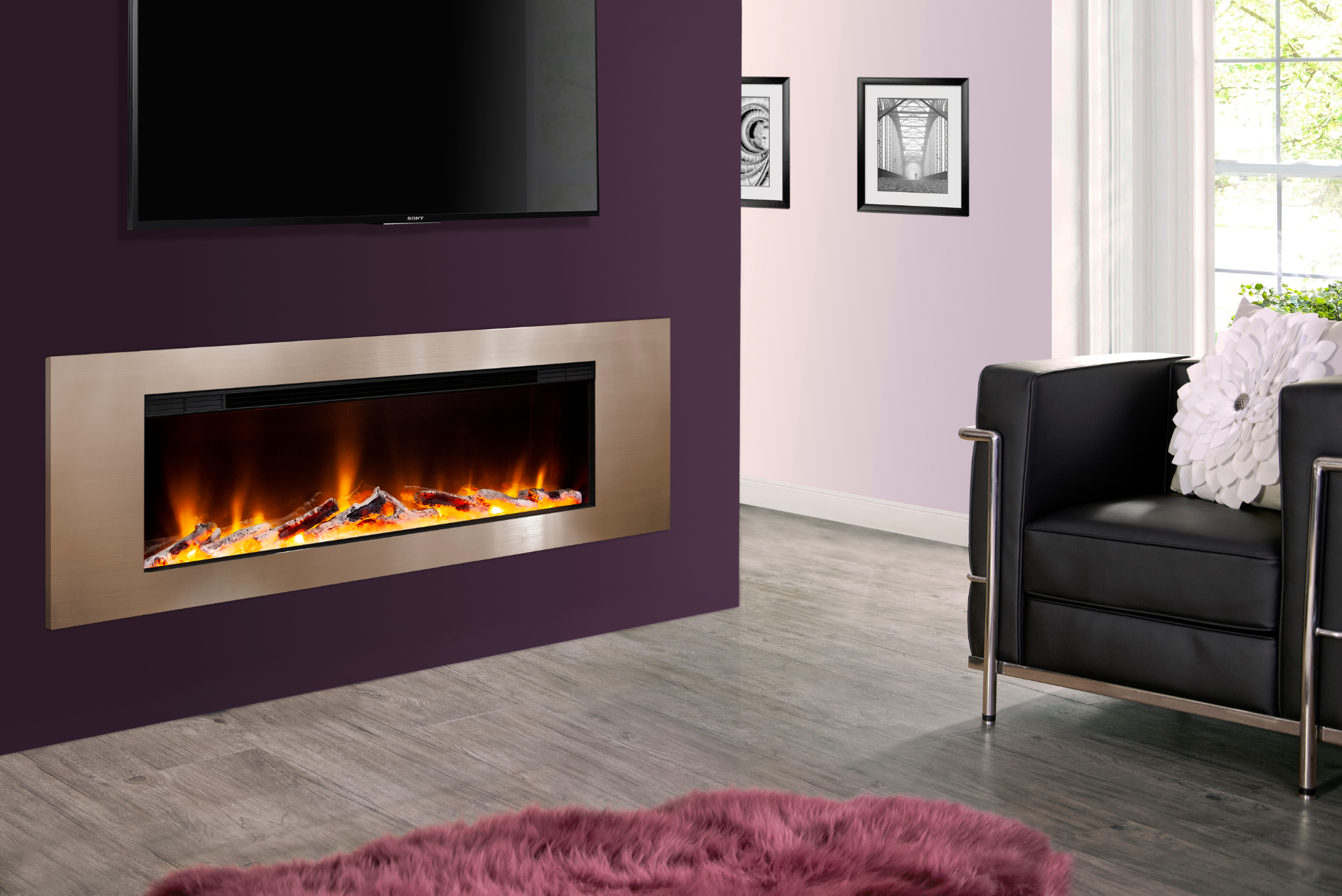 The modern Celsi Electriflame VR in Metz Champagne